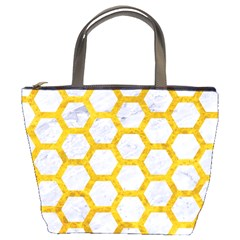Hexagon2 White Marble & Yellow Marble (r) Bucket Bags by trendistuff