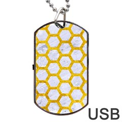 Hexagon2 White Marble & Yellow Marble (r) Dog Tag Usb Flash (two Sides) by trendistuff