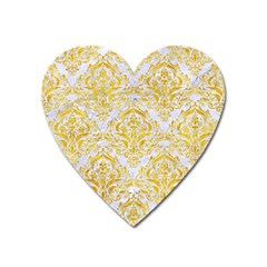 Damask1 White Marble & Yellow Marble (r) Heart Magnet by trendistuff