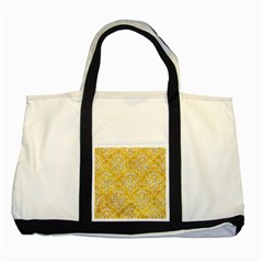 Damask1 White Marble & Yellow Marble Two Tone Tote Bag by trendistuff