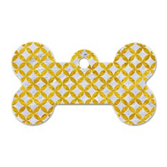 Circles3 White Marble & Yellow Marble (r) Dog Tag Bone (two Sides) by trendistuff