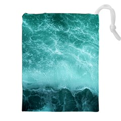 Green Ocean Splash Drawstring Pouches (xxl) by snowwhitegirl