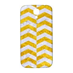 Chevron2 White Marble & Yellow Marble Samsung Galaxy S4 I9500/i9505  Hardshell Back Case by trendistuff