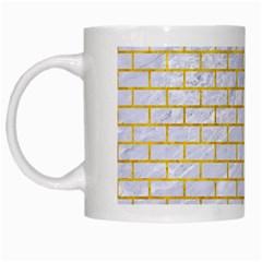 Brick1 White Marble & Yellow Marble (r) White Mugs by trendistuff