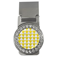 Triangle2 White Marble & Yellow Leather Money Clips (cz)  by trendistuff