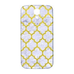 Tile1 White Marble & Yellow Leather (r) Samsung Galaxy S4 I9500/i9505  Hardshell Back Case by trendistuff
