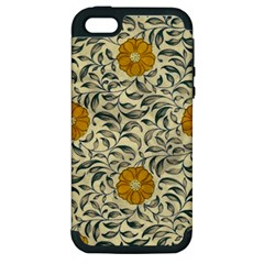 Japanese Floral Orange Apple Iphone 5 Hardshell Case (pc+silicone) by snowwhitegirl