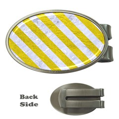 Stripes3 White Marble & Yellow Leather Money Clips (oval)  by trendistuff