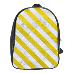 Stripes3 White Marble & Yellow Leather School Bag (xl) by trendistuff