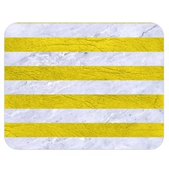 Stripes2white Marble & Yellow Leather Double Sided Flano Blanket (medium)  by trendistuff