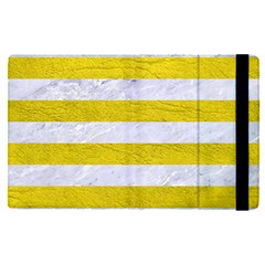Stripes2white Marble & Yellow Leather Apple Ipad Pro 12 9   Flip Case by trendistuff