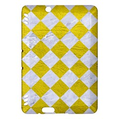Square2 White Marble & Yellow Leather Kindle Fire Hdx Hardshell Case by trendistuff