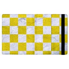 Square1 White Marble & Yellow Leather Apple Ipad 3/4 Flip Case by trendistuff