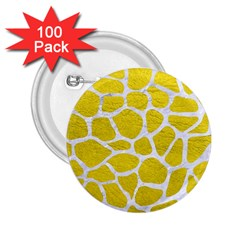 Skin1 White Marble & Yellow Leather (r) 2 25  Buttons (100 Pack)  by trendistuff