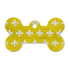 Royal1 White Marble & Yellow Leather (r) Dog Tag Bone (one Side) by trendistuff