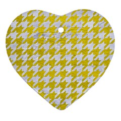 Houndstooth1 White Marble & Yellow Leather Ornament (heart) by trendistuff