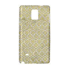 Hexagon1 White Marble & Yellow Leather (r) Samsung Galaxy Note 4 Hardshell Case by trendistuff