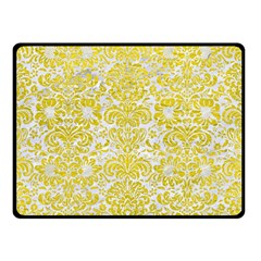 Damask2 White Marble & Yellow Leather (r) Double Sided Fleece Blanket (small)  by trendistuff