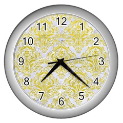 Damask1 White Marble & Yellow Leather (r) Wall Clocks (silver)  by trendistuff