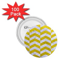 Chevron2 White Marble & Yellow Leatherchevron2 White Marble & Yellow Leather 1 75  Buttons (100 Pack)  by trendistuff