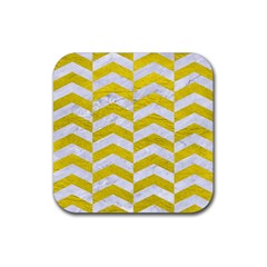 Chevron2 White Marble & Yellow Leatherchevron2 White Marble & Yellow Leather Rubber Square Coaster (4 Pack)  by trendistuff