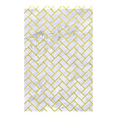 Brick2 White Marble & Yellow Leather (r) Shower Curtain 48  X 72  (small)  by trendistuff