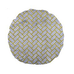 Brick2 White Marble & Yellow Leather (r) Standard 15  Premium Round Cushions by trendistuff