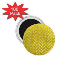 Brick2 White Marble & Yellow Leather 1 75  Magnets (100 Pack)  by trendistuff