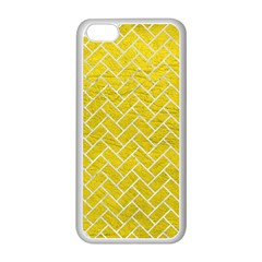 Brick2 White Marble & Yellow Leather Apple Iphone 5c Seamless Case (white) by trendistuff
