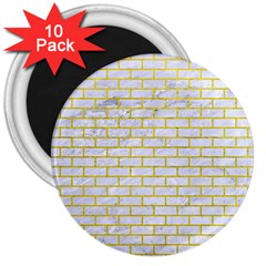 Brick1 White Marble & Yellow Leather (r) 3  Magnets (10 Pack)  by trendistuff