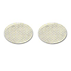 Brick1 White Marble & Yellow Leather (r) Cufflinks (oval) by trendistuff