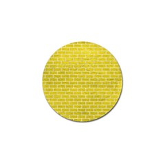 Brick1 White Marble & Yellow Leather Golf Ball Marker (10 Pack) by trendistuff