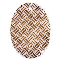 Woven2 White Marble & Yellow Grunge (r) Oval Ornament (two Sides) by trendistuff