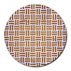 Woven1 White Marble & Yellow Grunge (r) Round Mousepads by trendistuff