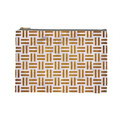 Woven1 White Marble & Yellow Grunge (r) Cosmetic Bag (large)  by trendistuff