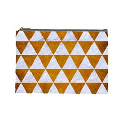 Triangle3 White Marble & Yellow Grunge Cosmetic Bag (large)  by trendistuff