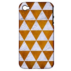Triangle3 White Marble & Yellow Grunge Apple Iphone 4/4s Hardshell Case (pc+silicone) by trendistuff