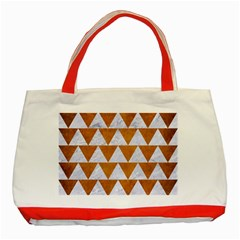 Triangle2 White Marble & Yellow Grunge Classic Tote Bag (red) by trendistuff