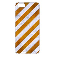 Stripes3 White Marble & Yellow Grunge (r) Apple Iphone 5 Seamless Case (white) by trendistuff