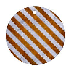 Stripes3 White Marble & Yellow Grunge Ornament (round) by trendistuff