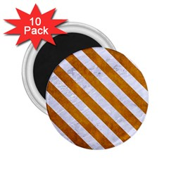 Stripes3 White Marble & Yellow Grunge 2 25  Magnets (10 Pack)  by trendistuff