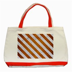 Stripes3 White Marble & Yellow Grunge Classic Tote Bag (red) by trendistuff