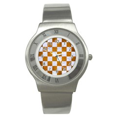 Square1 White Marble & Yellow Grunge Stainless Steel Watch by trendistuff