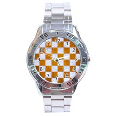 Square1 White Marble & Yellow Grunge Stainless Steel Analogue Watch by trendistuff