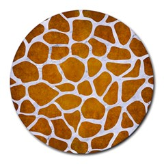 Skin1 White Marble & Yellow Grunge (r) Round Mousepads by trendistuff