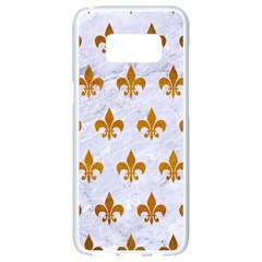 Royal1 White Marble & Yellow Grunge Samsung Galaxy S8 White Seamless Case by trendistuff