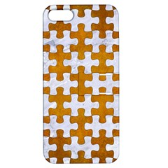 Puzzle1 White Marble & Yellow Grunge Apple Iphone 5 Hardshell Case With Stand by trendistuff