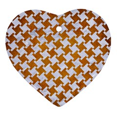 Houndstooth2 White Marble & Yellow Grunge Heart Ornament (two Sides) by trendistuff
