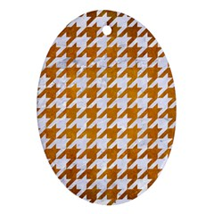 Houndstooth1 White Marble & Yellow Grunge Ornament (oval) by trendistuff