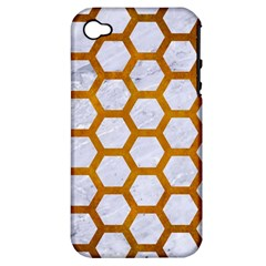 Hexagon2 White Marble & Yellow Grunge (r) Apple Iphone 4/4s Hardshell Case (pc+silicone) by trendistuff